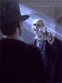 Raoul Faces the Phantom by Greg Hildebrandt (1988); click for more information (on the web site of the Spiderwebart Gallery)