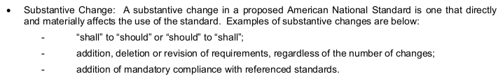 """Substantive Change: A substantive change in a proposed American National Standard is one that directly