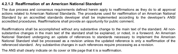 """4.2.1.2 Reaffirmation of an American National Standard