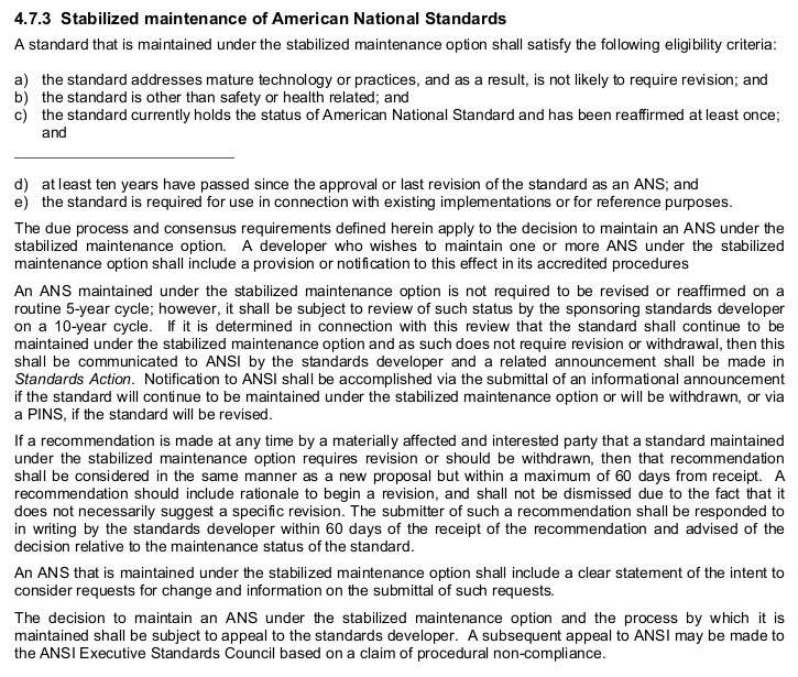 """4.7.3 Stabilized maintenance of American National Standards