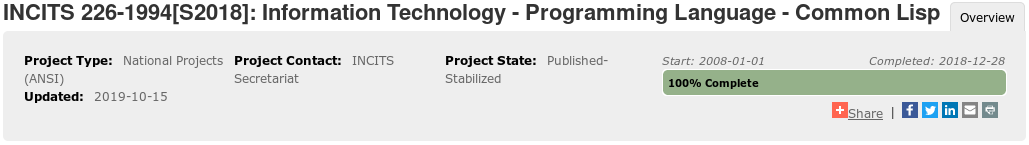 """Project Overview"" of ""INCITS 226-1994[S2018]: Information Technology