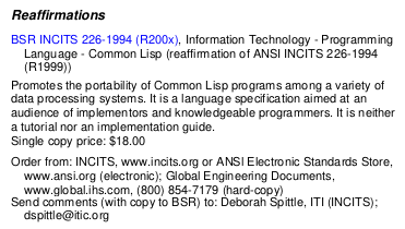 """BSR INCITS 226-1994 (R200x), Information Technology - Programming