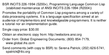 """BSR INCITS 226-1994 (S200x), Programming Language Common Lisp