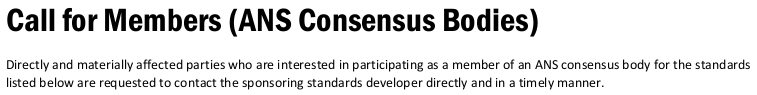 """Call for Members (ANS Consensus Bodies)