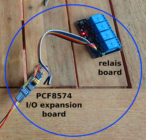 relay module connected to I2C via a PCF8574; click for a larger version (180kB).